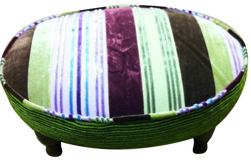 Stripped fabric stool reupholstered
